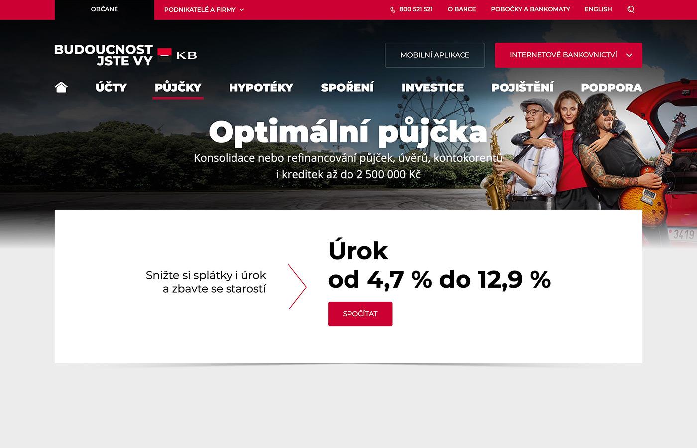 Webové stránky https://www.kb.cz/cs/obcane/pujcky/optimalni-pujcka