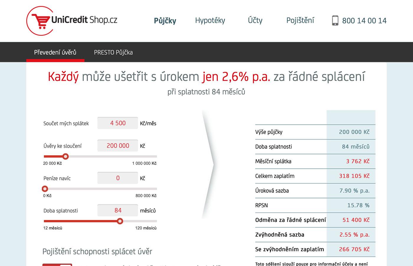 Webové stránky https://www.unicreditshop.cz/online-pujcky#/slouceni-uveru