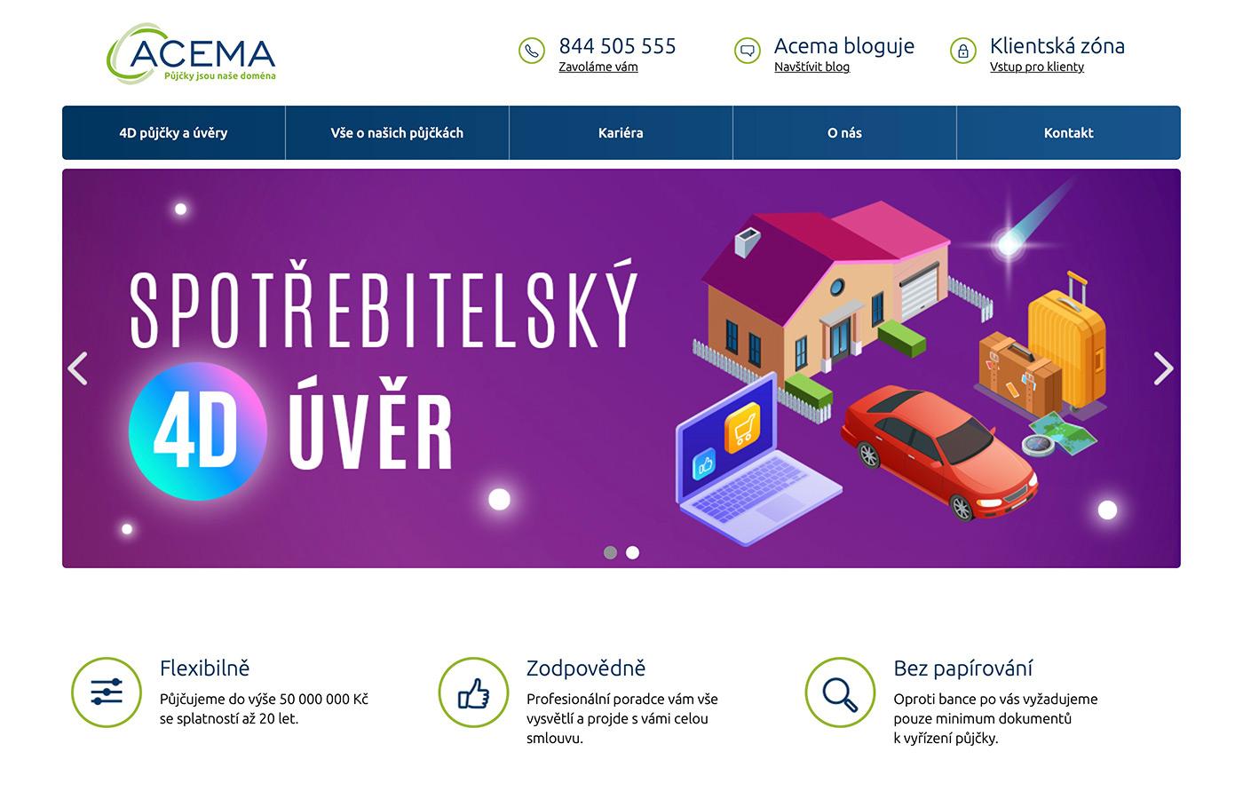 Webové stránky https://www.acema.cz