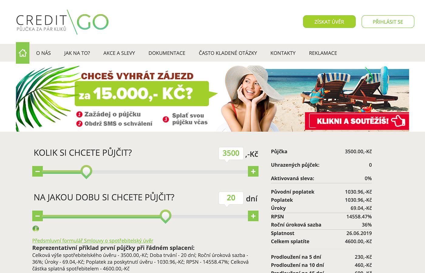 Webové stránky https://www.creditgo.cz