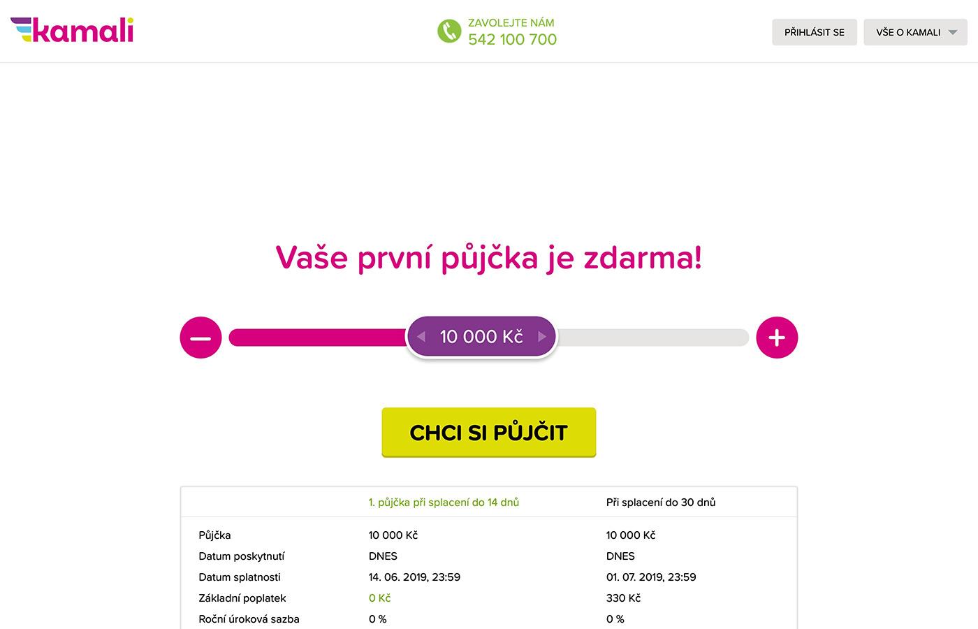 Webové stránky https://www.kamali.cz