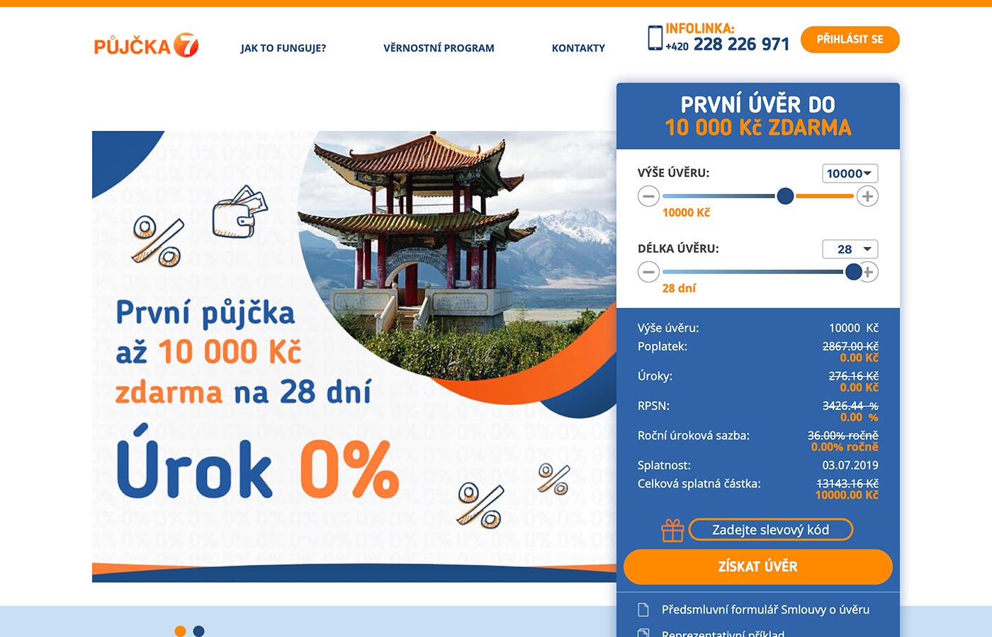 Webové stránky https://www.pujcka7.cz